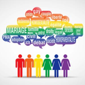 nuage de mots bulles silhouette : mariage pour tous